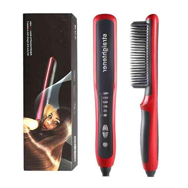 Men Beard Straightener Ceramic Hair Straighteners Multifunctional, Hair Brush Curling Iron Straightening Comb