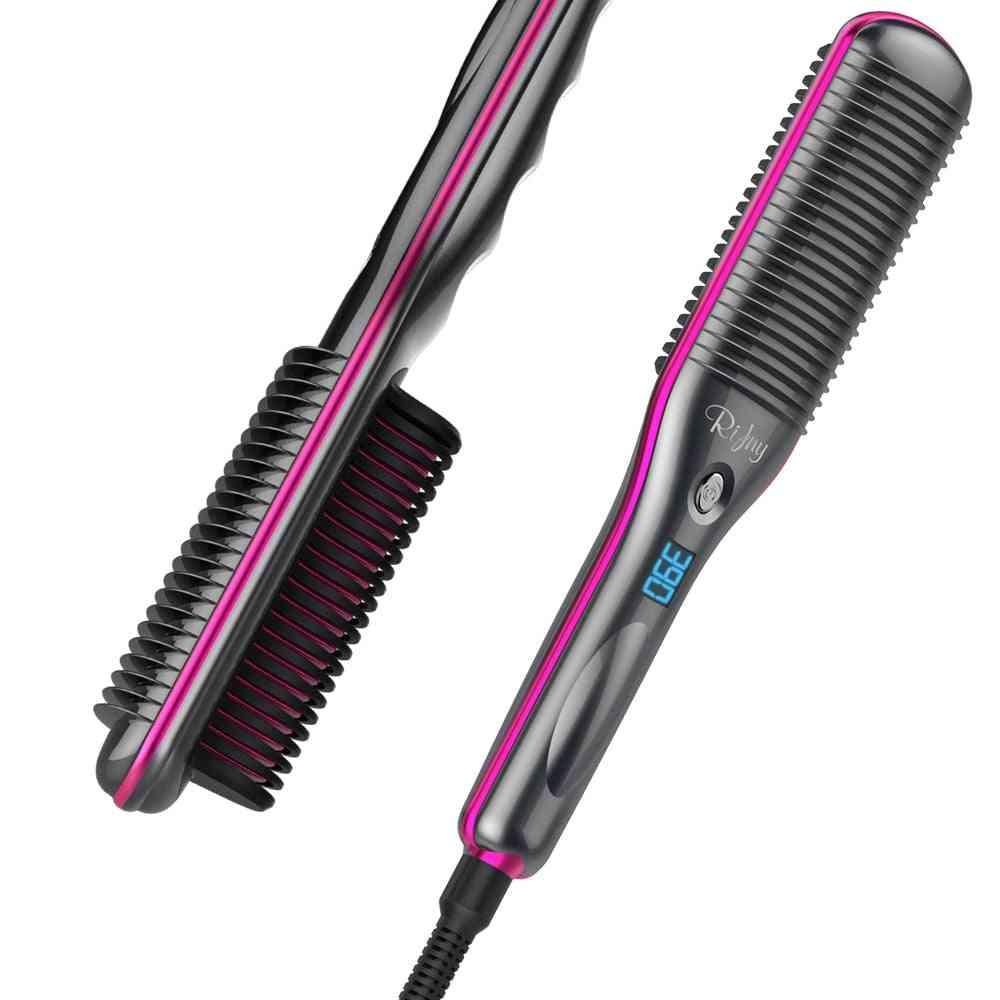Hair Straightener Brush, Rifny Heated Hair Straightening Comb With Anti Scald Auto Temperature Lock , 30s Fast Ceramic Heating