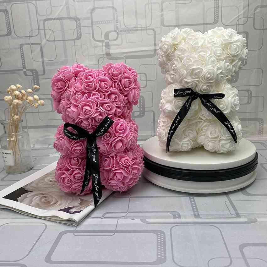 Cute Rose Flower Teddy Bear Artificial Decoration Christmas, Valentines