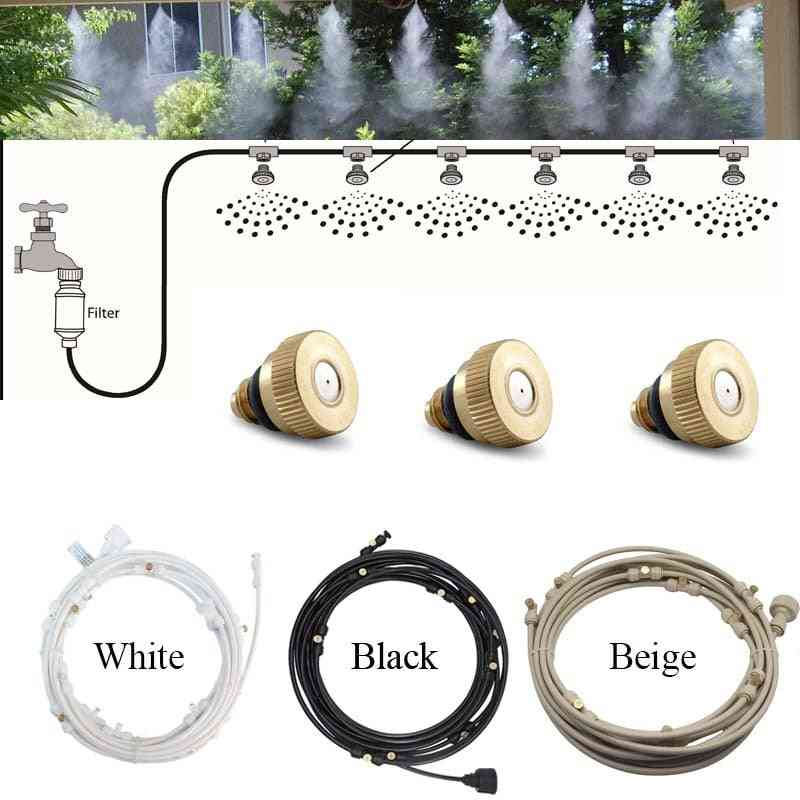 Water Misting Cooling System Kit, Summer Sprinkler Brass Nozzle, Outdoor Garden Greenhouse Park Plants Spray Hose Watering