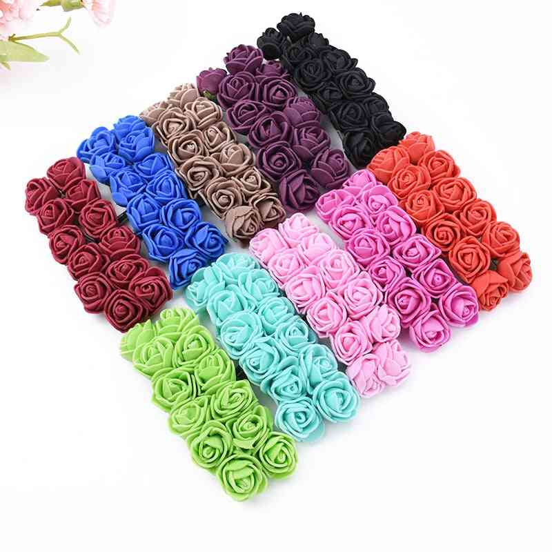Mini Foam Teddy Bear Of Roses Bouque Artificial Flowers For Home Wedding Decor