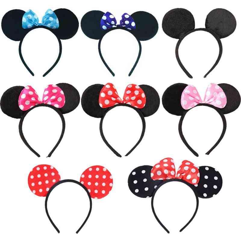 Cute Mickey Minnie Shiny Ears Hairband For Birthday Party, Christmas Celebration