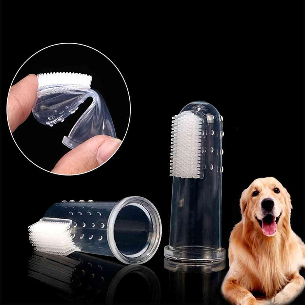 Super Soft Pet Finger Toothbrush Teddy Dog Brush Bad Breath Tartar Teeth Tool Dog Cat Cleaning Supplies