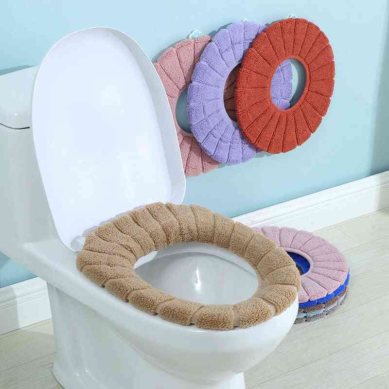 Knitted Washable Pumpkin Pattern Toilet Seat Cushion Cover For Bathroom