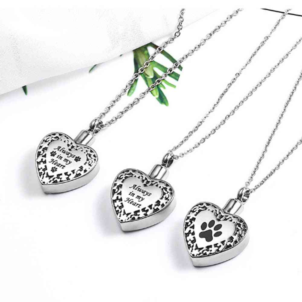 Dog/cat Paw Jewelry Pet Ashes Holder - Memorial Urn Necklace For Keepsake Pendant