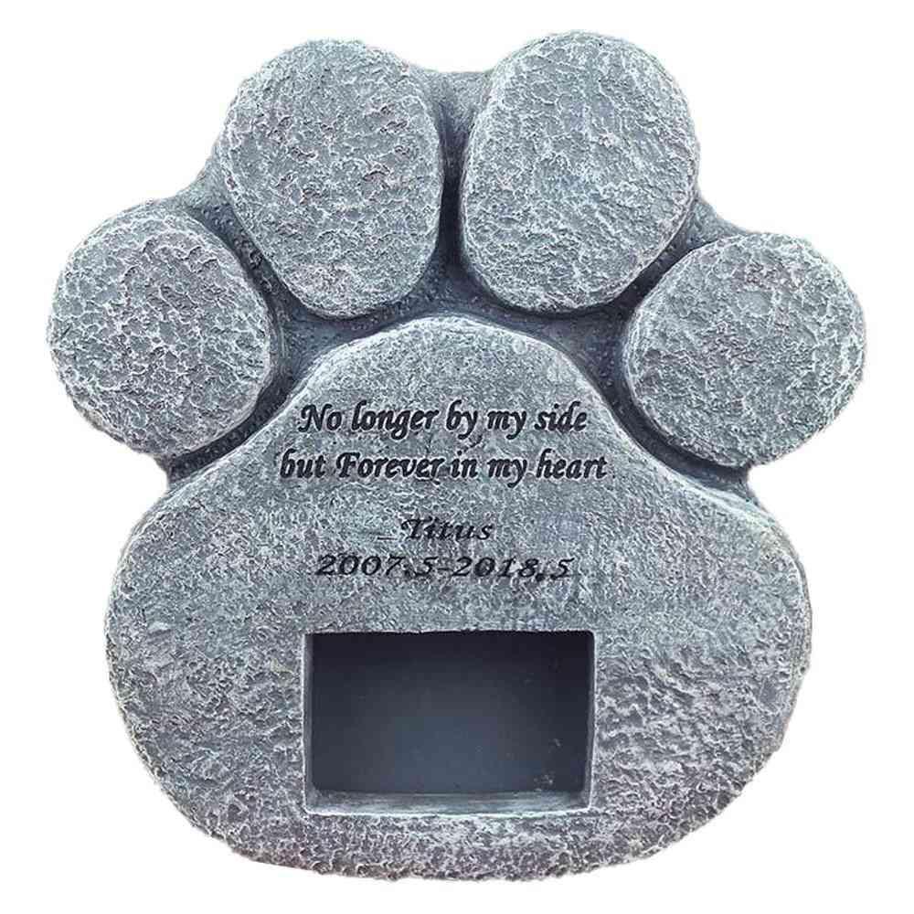 Memorial Tombstone For Pet Keepsake - Dog/cat Paw Print Gravestone