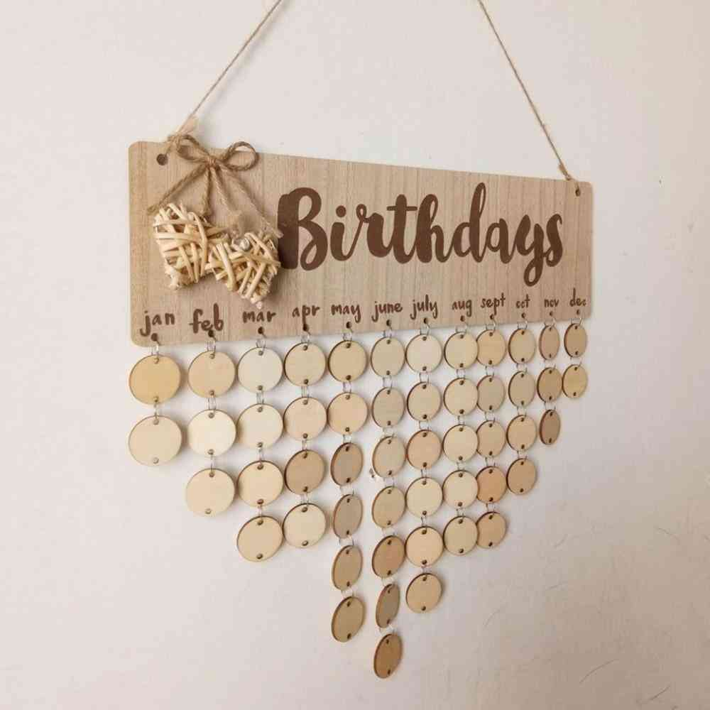 Christmas, New Year, Birthday, Special Days Reminder Board - Home Decor Hanging Wooden Calendar Board Ornament