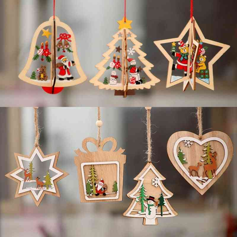 Christmas Decor Ornament Wooden Hanging Pendants - Star, Xmas Tree, Bell Christmas Decorations For Home Party, New Year Decor
