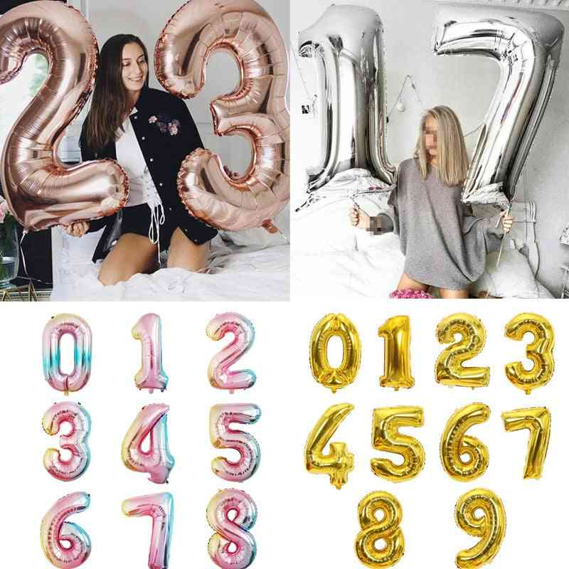 Multi-color, Big Size, Digit Foil Balloon For Birthday, Wedding Party, Baby Shower Decorations