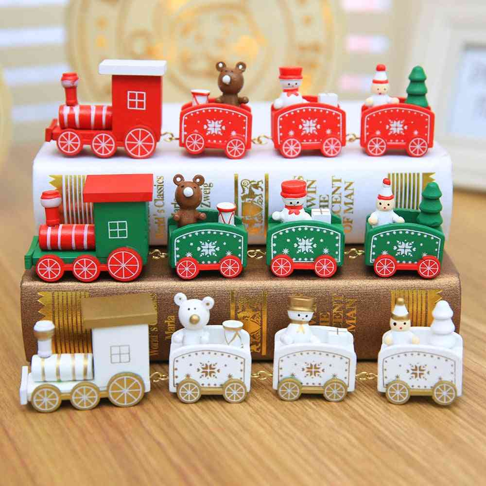 Christmas, New Year Decoration For Home With Santa - Wooden Train, Christmas Angel Pendant Hanging Decor, Kids Ornament