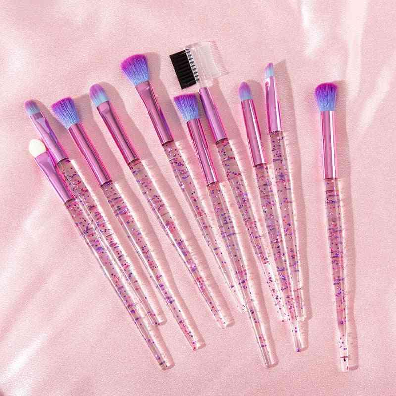 Pink Unicorn Eye Brushes Set - Eyeliner, Eyebrow, Eyeshadow For Makeup