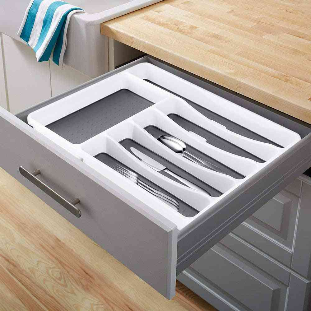 6 Compartments-cutlery Drawer Organizer-kitchen Tableware Tray