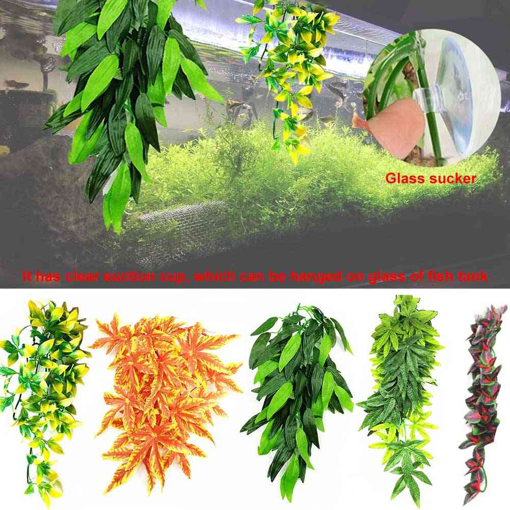 Reptile Diy Fish Tank Simulated Plant With Suction Cup Plastic Fake Hanging Pet Supplies