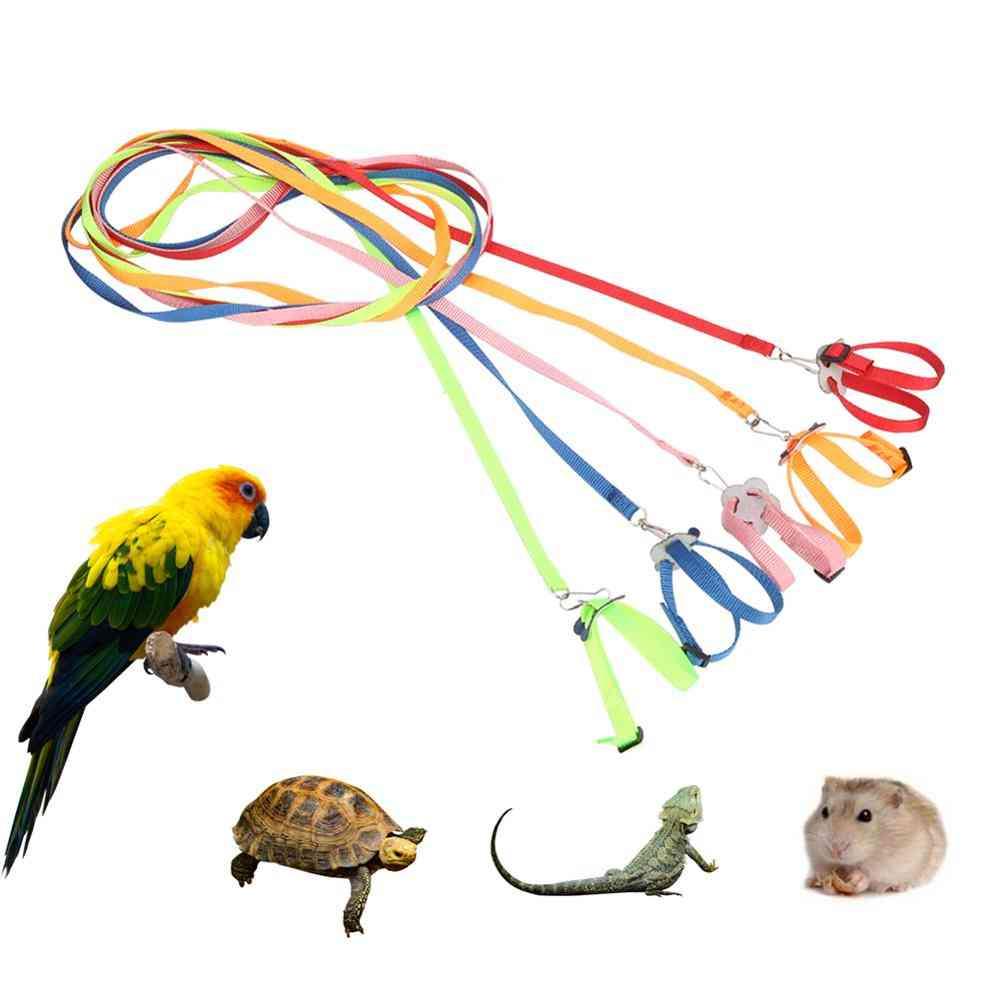 Adjustable Pet Harness Reptile Leash Turtle Gerbil Lizard Outdoor Training, Soft Strap Anti Bite Multicolor Light Traction Rope