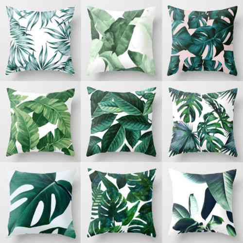 Green Leaves Throw Polyester Case Cushion For Sofa, Car