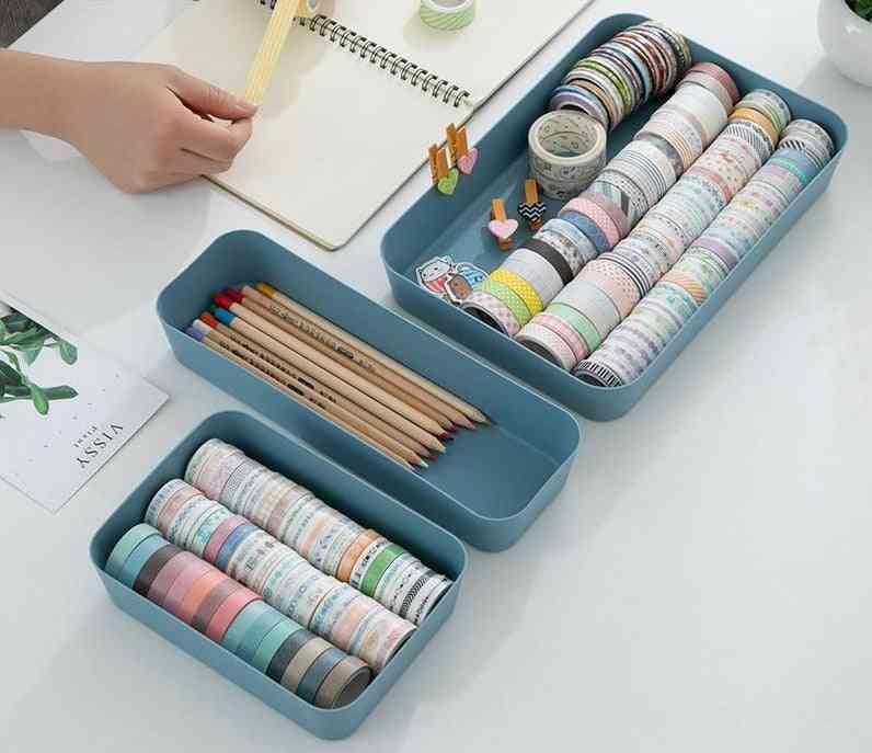 Cosmetics Drawer Organizer Divider - Plastic Drawers Desktop Makeup, Stationery, Data Cable Storage Box