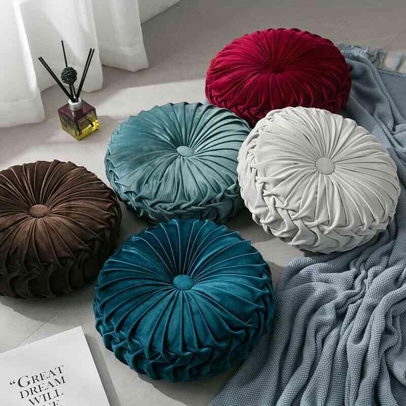 Velvet Pleated Round Floor Cushion Pillow, Pouf Throw Home Sofa Decor