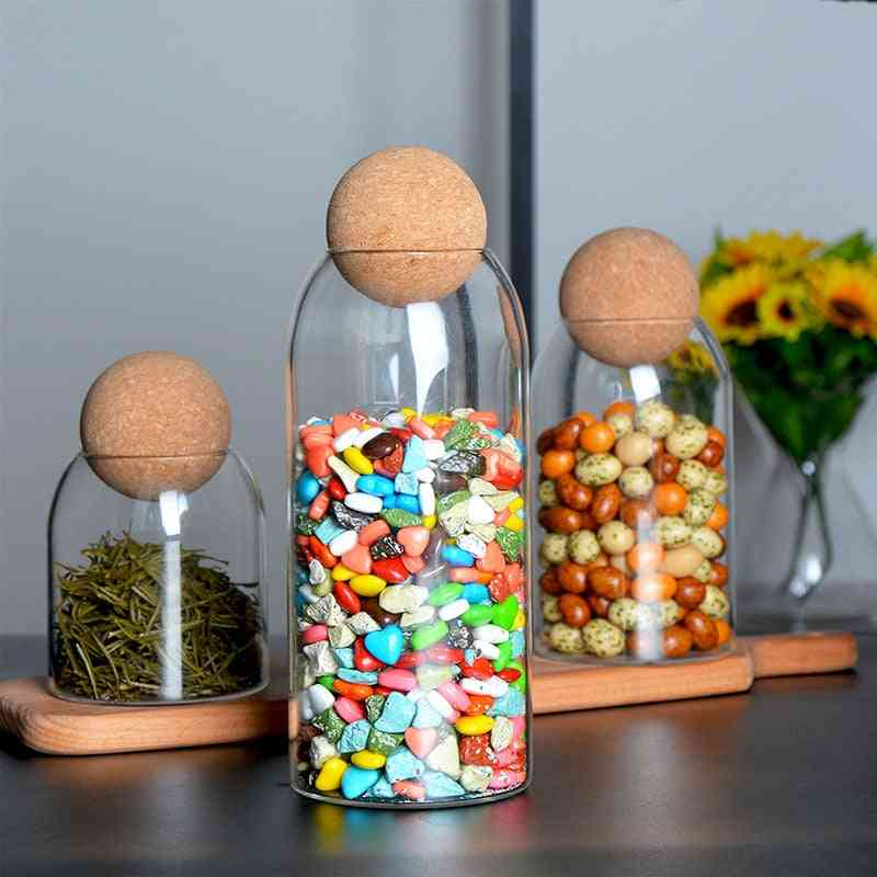 Ball Cork Lead Free Storage Glass Bottle - Transparent Tank Sealed Cans