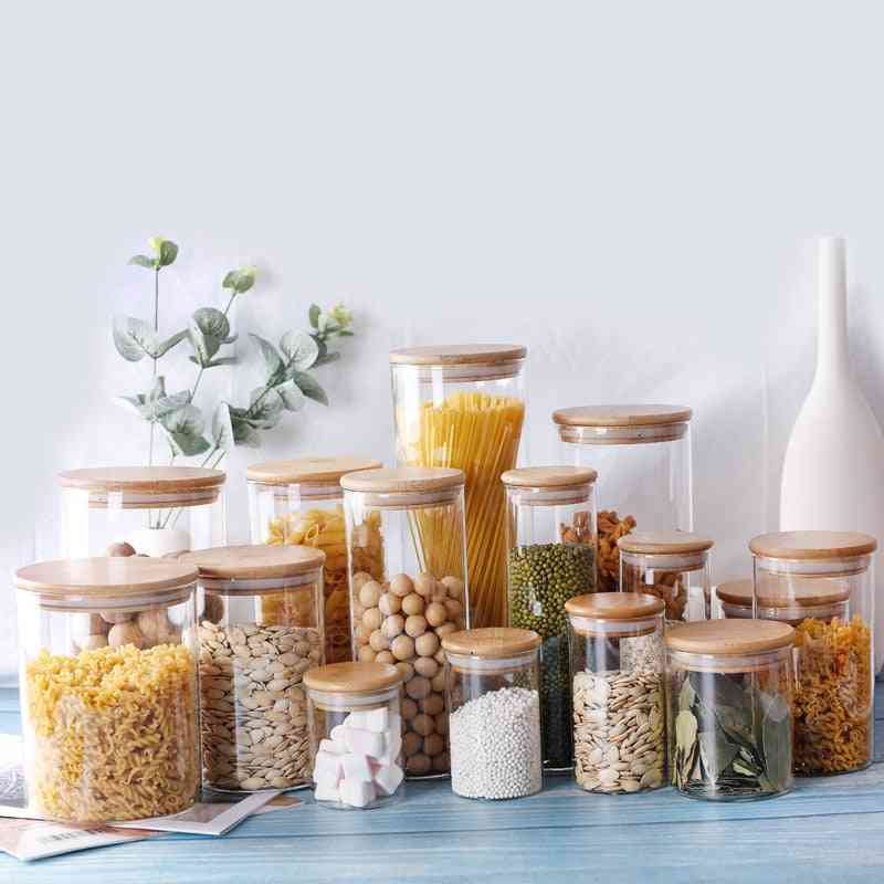 Kitchen Food Storage Glass Jars Sealed Cans With Cover - Spice Jars, Candy, Tea Kitchen Storage Box