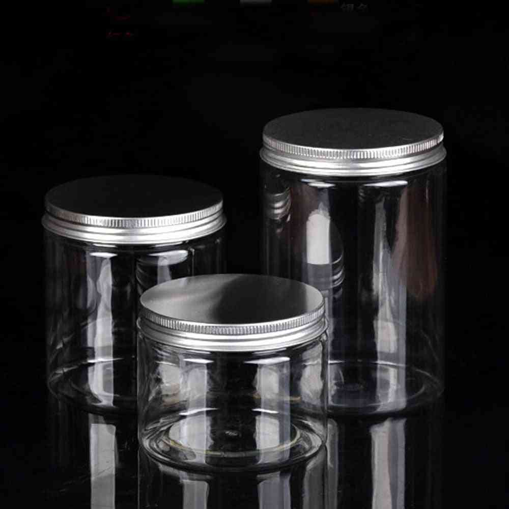 Clear Plastic Jar With Lids Refillable Bottles - Empty Cosmetic Containers, Makeup Box Travel Bottle