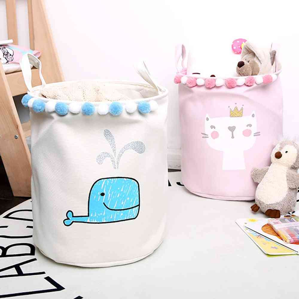 Cute Cartoon Foldable For Picnic, Laundry Basket, Toy Storage Bucket - Dirty Clothes Basket Box, Canvas Organizer