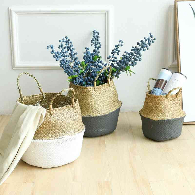 Handmade Bamboo Foldable Hanging Storage Baskets - Straw Patchwork Wicker Rattan Seagrass Belly Garden Flower Pot