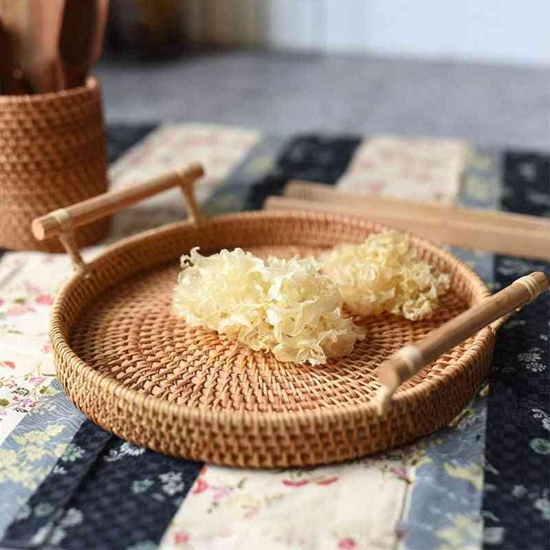Rattan Round Basket With Handle - Bread, Fruit, Food Breakfast Display Hand Woven Rattan Tray Wicker Basket