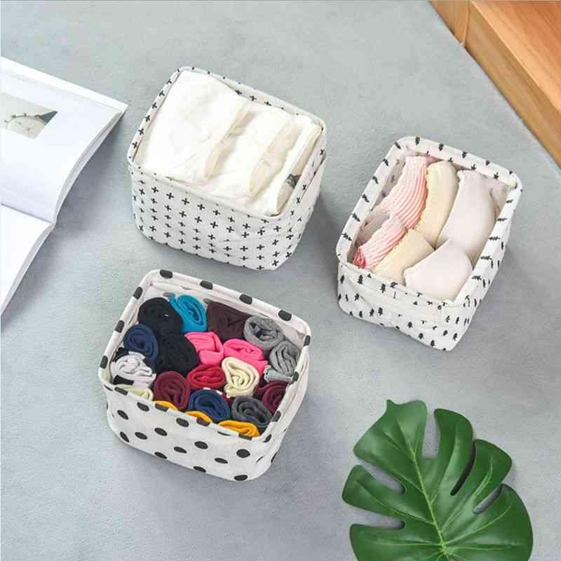Cotton Linen Desktop Storage Basket - Sundries Storage Box With Handle, Makeup Organizer