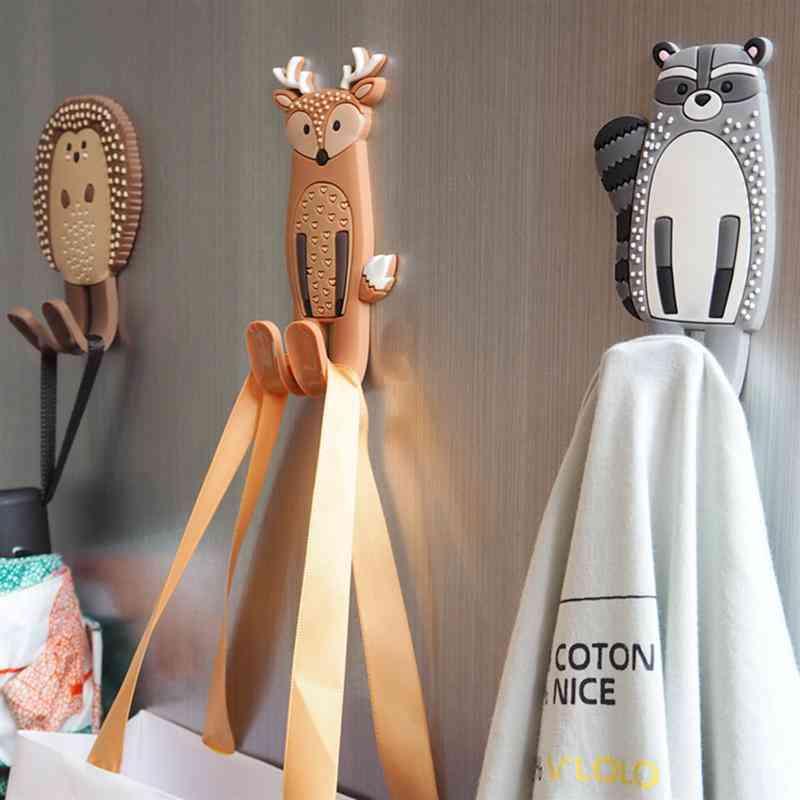 Cute Magnetic Hooks Removable Fridge Sticker - Refrigerator Message Magnet, Coat Hanger, Key Holder Storage Hook