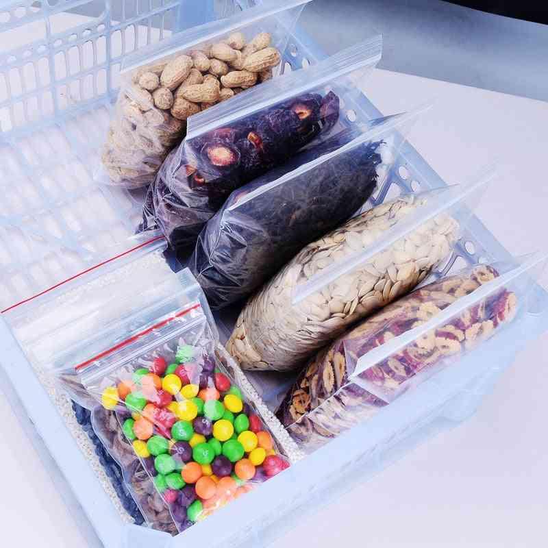 Zip Lock Plastic Storage Bag - Food Storage Reclosable Transparent Bag