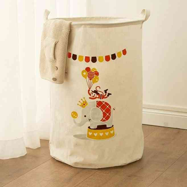 Cotton Laundry Basket Stand Toy Storage, Washing Dirty Clothes Big Basket