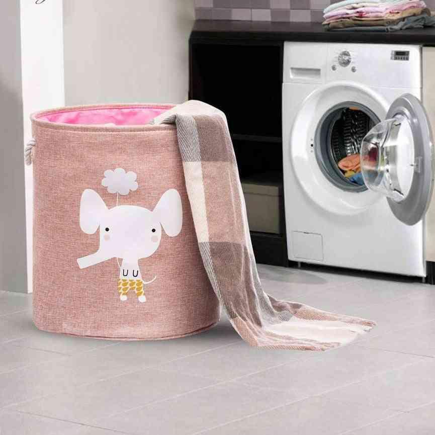 Cute Animal Large Folding Laundry Basket With Lid - Toy Storage Baskets Bin