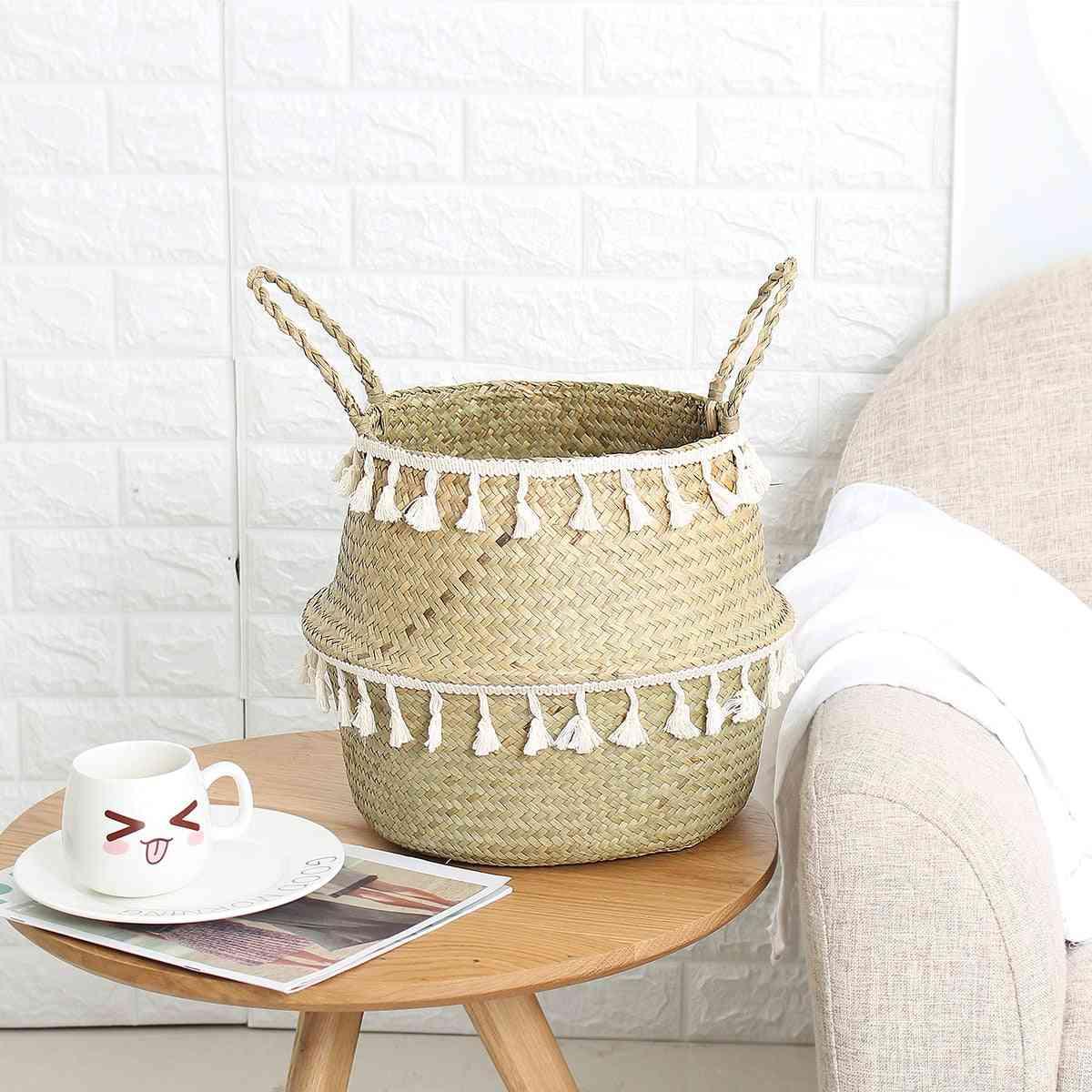 Tassel Design Handmade Bamboo Storage Baskets - Garden Flower Pot, Laundry Basket Container, Toy Holder