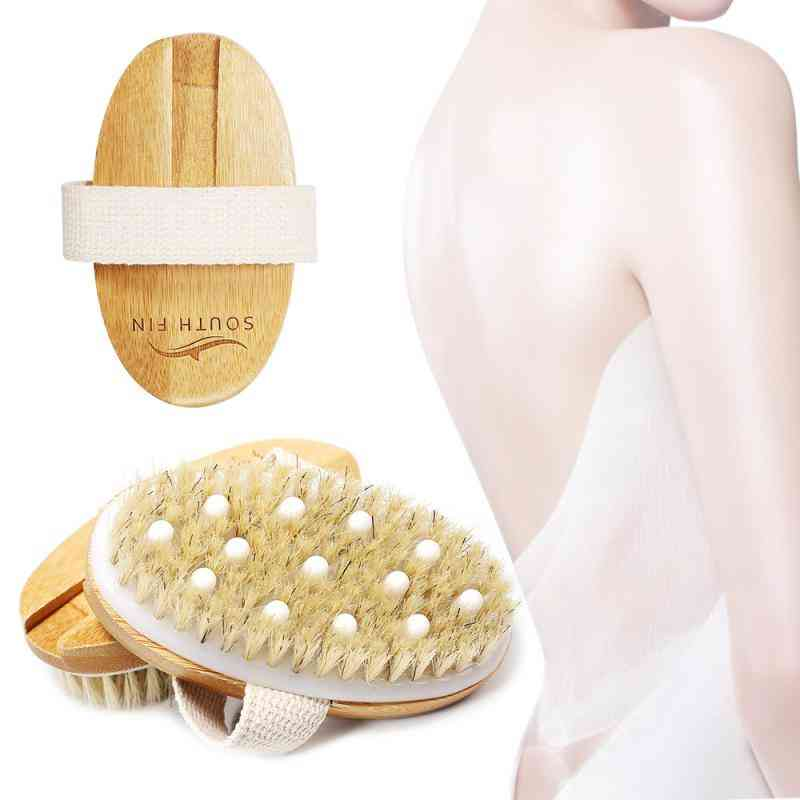 Wooden Oval Bath Shower Bristle Brush And Spa Body Massager For Dry Skin
