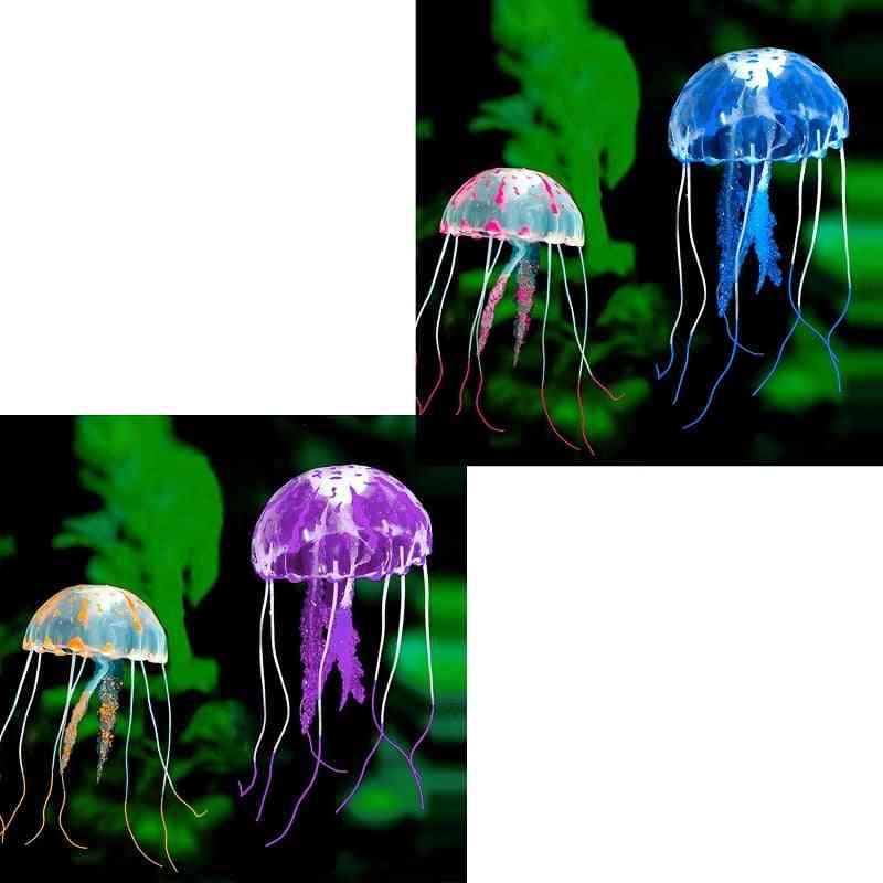 Swim Glowing Effect Artificial Jellyfish Aquarium Decoration Fish Tank, Underwater Live Plant Luminous Ornament Aquatic Landscape