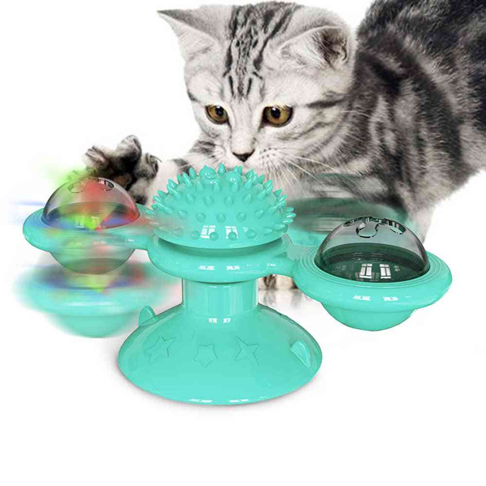 Windmill For Cats-whirling Turntable With Brush-interactive Pet