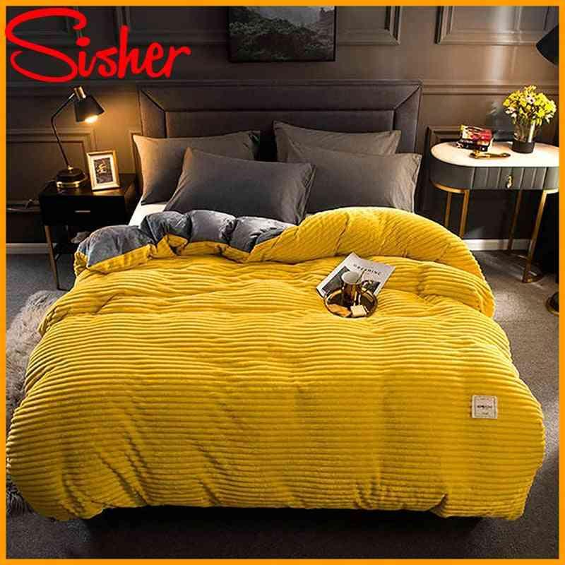 Winter Velvet Duvet Solid Color Thick Coral Bedding Set, Linens Quilt Bed Sheet