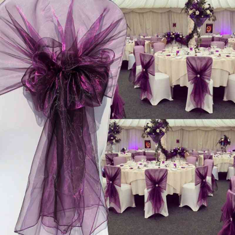 Organza Chair Sash-knot Bow Tie Design For Decorations