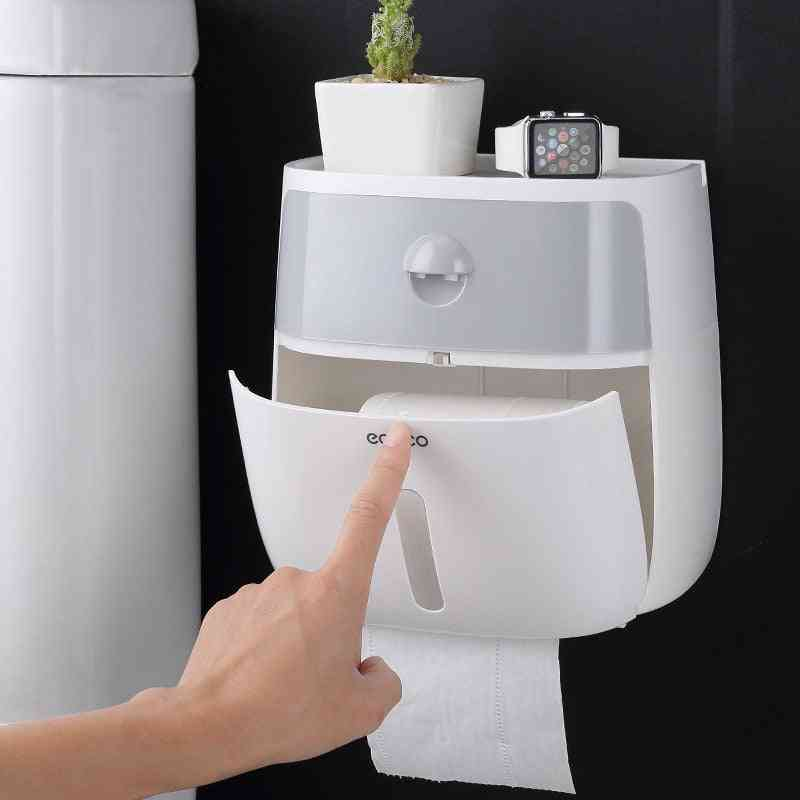Wall Mount Waterproof Toilet Paper Holder-double-layer Tissue Box