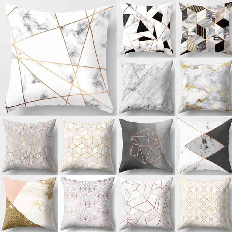 Marble Geometric Design, Printed Decorative Pillow Cover
