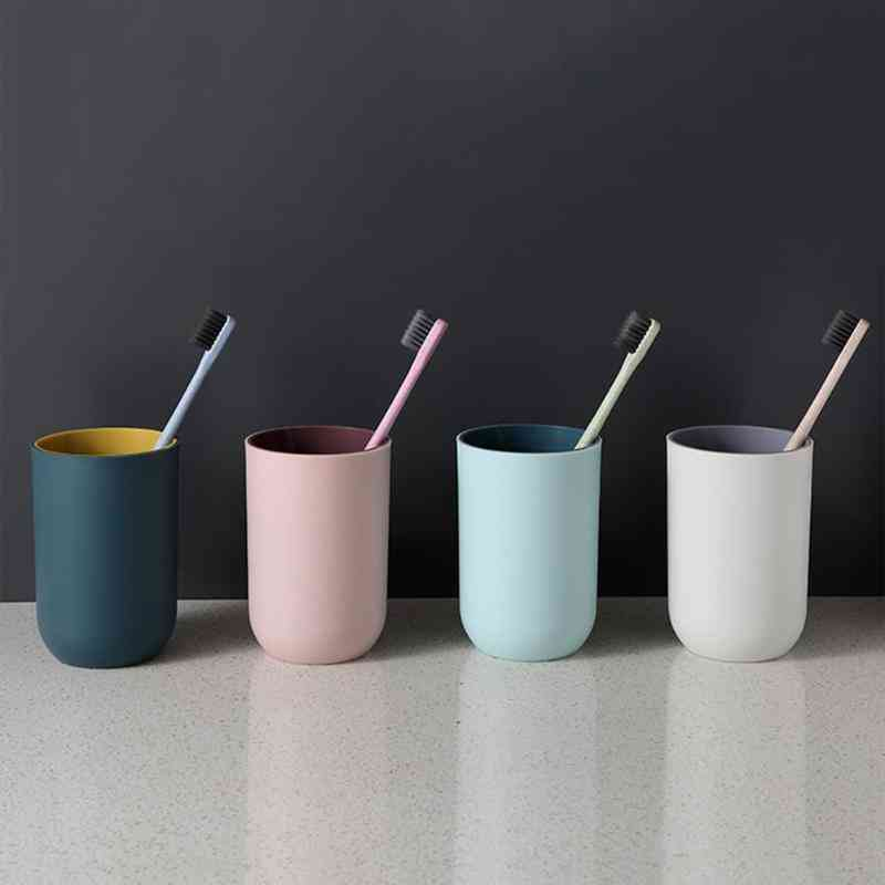 Simple Plain Style Circular Tumbler - Toothbrush Holder, Large Capacity Drinking Cup, Small Potted Plant Cup