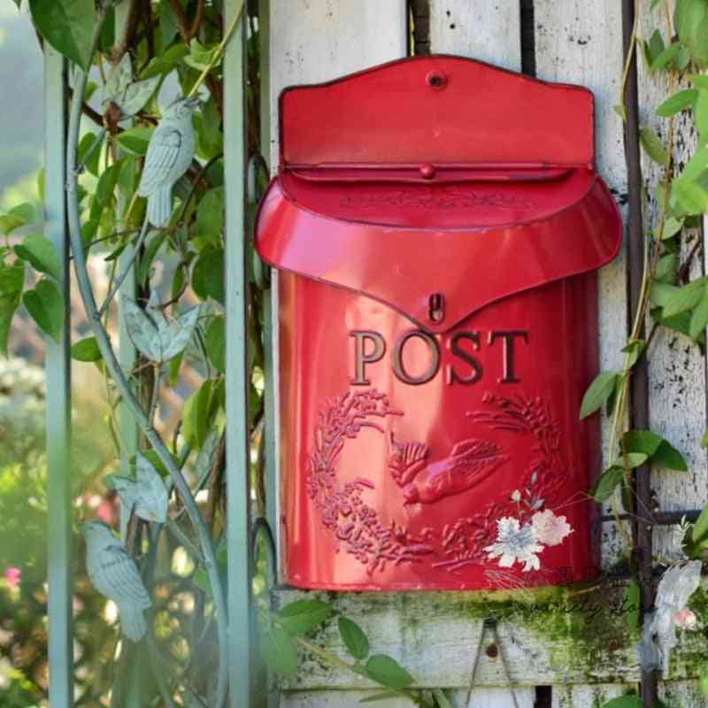 Pastoral And Lockable Secure Iron Post Box - Wall Mounted, Creative, Vintage Handmade Letter, Newspaper, Mailbox