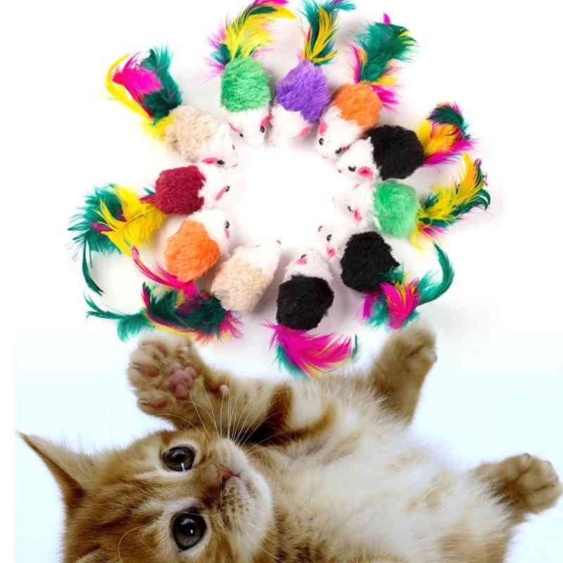 Cute False Mouse Plush Pet Cat - Mini Playing For Cats With Colorful Feather