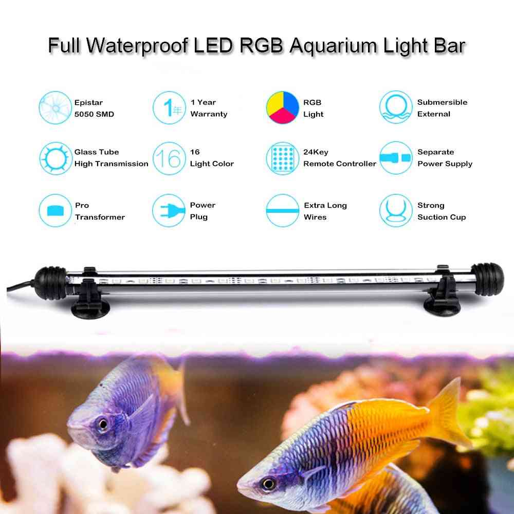 Waterproof Led Aquarium Submersible Lamp - Fish Tank Light Bar Aquatic Decor