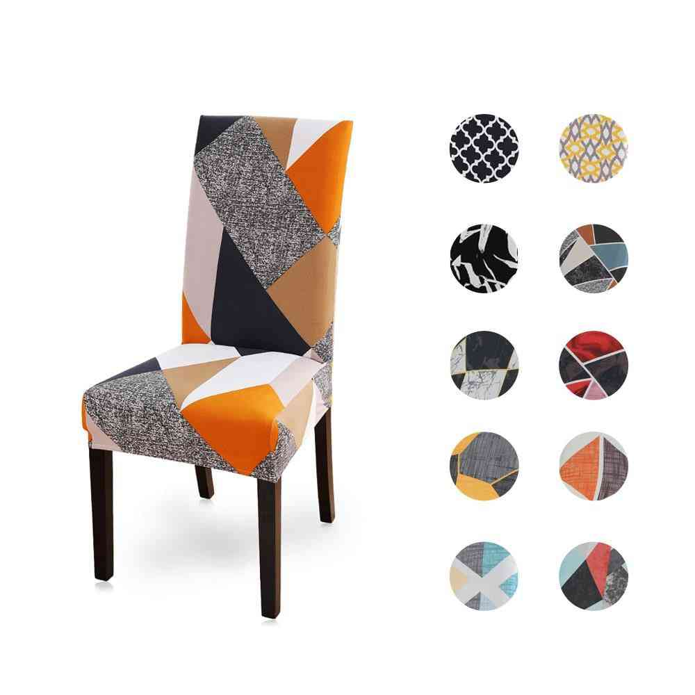 Soft Spandex, Printed, Universal Chair Cover For Dining Room, Wedding Banquet, Hotel