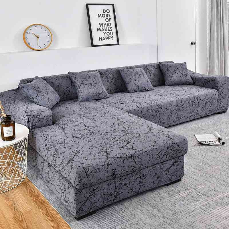 Geometric Couch Cover, Elastic Sofa Cover For Living Room & Pets Corner L Shaped Chaise Longue Sofa Slipcover