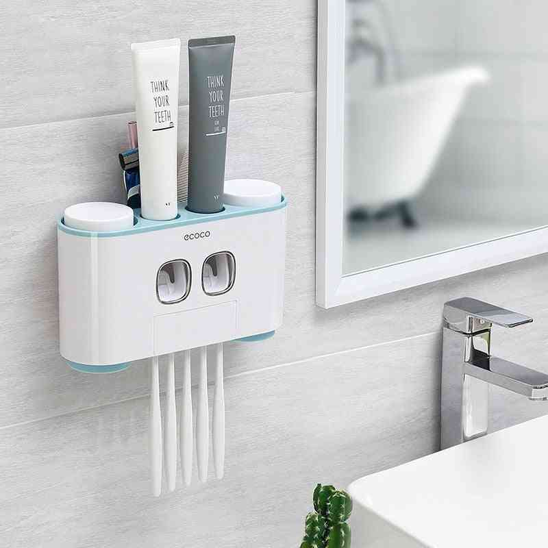 Wall-mounted, Automatic Toothpaste Dispenser And Toothbrush Holder
