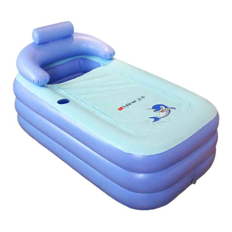 Portable, Inflatable And Folding Bathtub With Neck Support