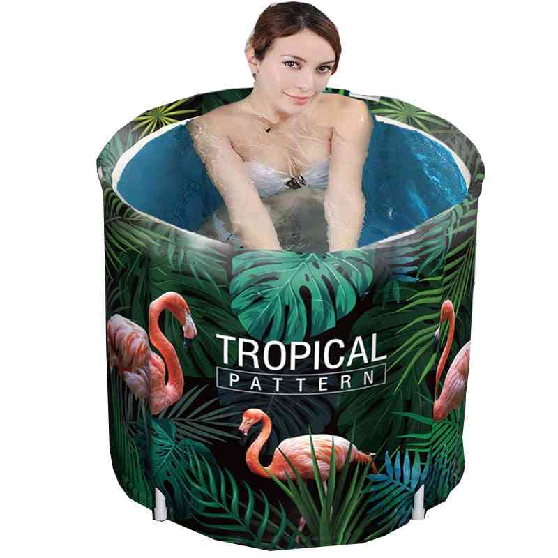 Tropical Pattern, Folding, Portable And Non-inflatable Bath Tub