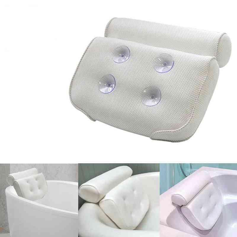 3d Mesh Spa Bathtub Pillow, Non Slip Headrest Cushion With Suction Cups